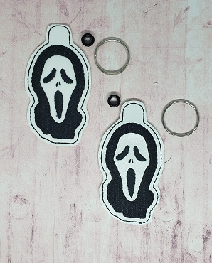Scream Face Snaptab / Keyfob Embroidery Design